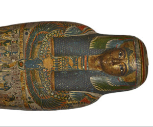 Cartonnage of a priestess, adult, casing with a gilded face, named Tayesmutengebtiu, also called Tamut. Found in Thebes, 22nd Dynasty (c. 900 BC). © Trustees of the British Museum