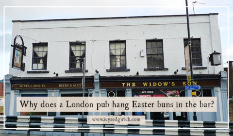 Why does a London pub hang hot cross buns in the bar?
