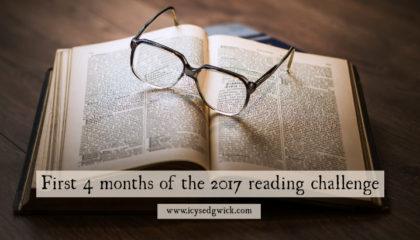 With the first 4 months out of the way in the Goodreads 2017 Reading Challenge, how many books have I read, and which novels did I finish?
