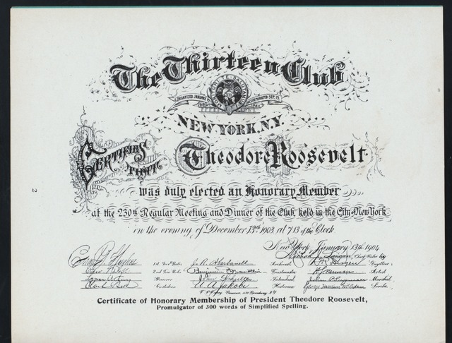 An image of Theodore Roosevelt's certificate of honorary membership of the Thirteen Club.